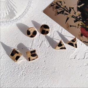 Leopard Fur Geometric Shape Stud Earrings